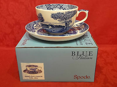 Spode Blue Italian Jumbo 20 oz Breakfast Cup & Saucer - New & Boxed