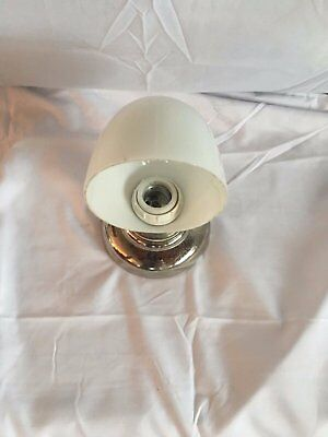 Vtg Over Mirror Chrome Sconce Glass Shade Old Art Deco Light Fixture bath 08-17J