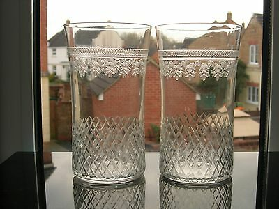 Pall Mall - Two -1/2 Pint Cut & Etched Edwardian Waisted Tumblers