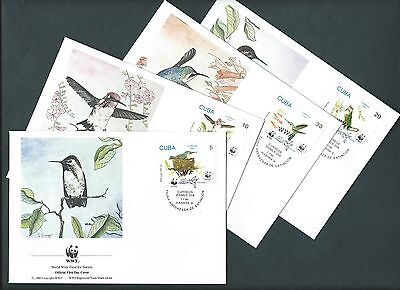sCUBA 1992. WWF OFFICIAL FDC. THE BEE HUMMINGBIRD - BIRDS. Set of 4 covers (12)
