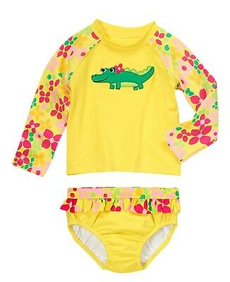 ##  NWT Gymboree SWIM SHOP Yellow Green Alligator Flower Tankini Swim Suit  2T