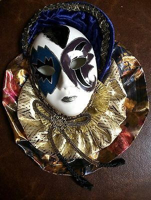 ANCO Mardi Gras porcelain mask Blue, Purple, Gold, Silver, 1992 great condition
