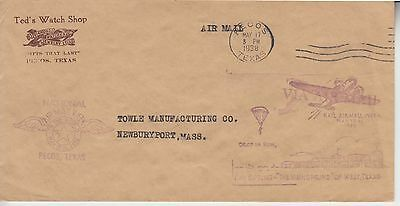 1938 Namw National Air Mail Week Pecos Tx W/Ad  Corner Ted's Watch Shop