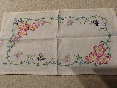 Vintage Hand Embroidered Tray Cloth