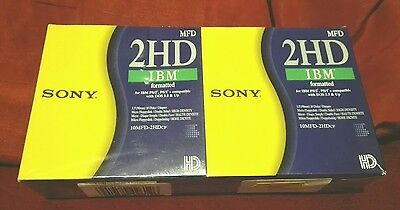 2 boites DISQUETTES 3,5 3.5'' 2HD SONY IBM formatted DOUBLE FACE
