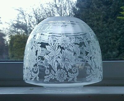 "Victorian Best Quality Ribbed Beehive Etched Glass Oil Lamp Shade Duplex 4"" A1"
