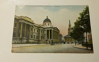 National Gallery and St Martins Church. London. Postcard