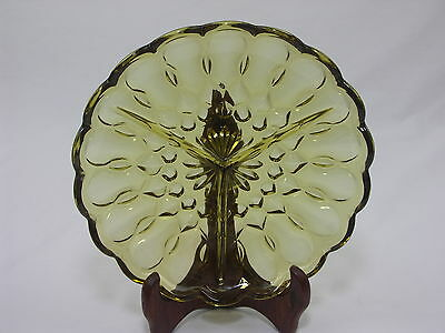 Vintage Amber Divided Pressed Glass Round Serving Tray/Dish