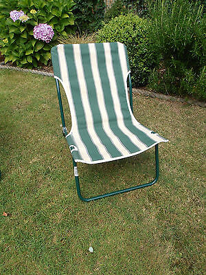 Low Folding Green and Beige Striped Beach/Camping Chair