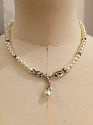 Gold And Pearls Necklace And Drop Earrings With Crystals Costume Jewellery Set