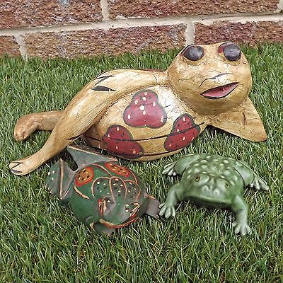 Small Collection Frog Ornaments - 2 Wooden Painted Carvings & 1 Ceramic Frog