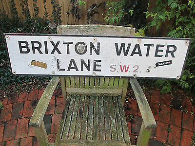 GENUINE 1970's LONDON STREET ROAD SIGN BRIXTON WATER LANE SW2 SW9