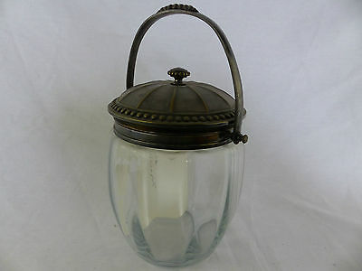 antique panel glass biscuit cracker jar french gallia silverplate swing handle
