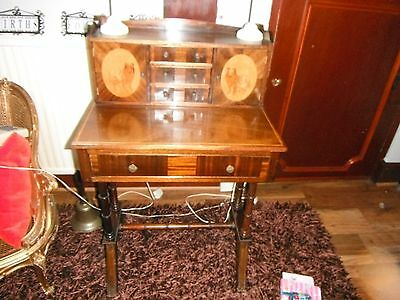 Vintage Ladies Mahogany Desk With  Interesting ''dog' Motifs.