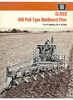 1965 Oliver 450 Pull Type 4 5 6 7 8 Bottom Moldboard Plow Brochure 1850 Tractor