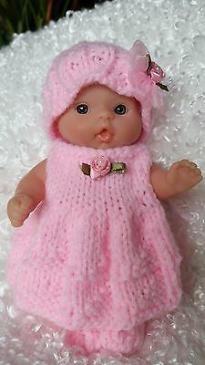 Pink Dress Hat Set hand knit for 5 inch chubby Berenguer itty bitty baby doll
