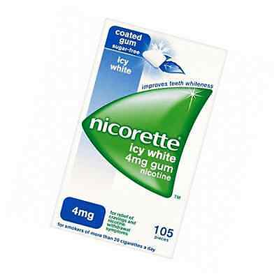 Nicorette 4 mg Icy White Gum - Pack of 105 Gums Helps Stop Smoking Cravings