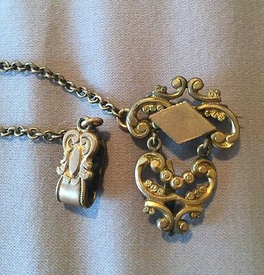 Antique CHATELAINE watch PIN W CLIP gold-filled no monogram late 1800s BROOCH