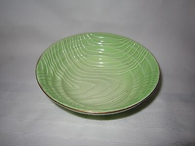 Vintage Carlton Ware Art Deco green ribbed bowl