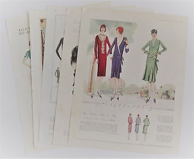 Lot of 5 1920's  Color FASHION Ads