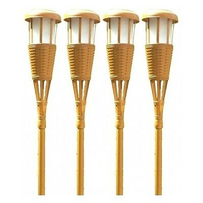 Solar Tiki Torches 4 Pack Bamboo Patio Flickering Outdoor Lighting Adjustable