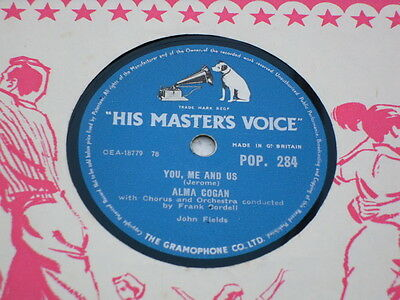 """ALMA COGAN 78 rpm record """"YOU ME AND US/THREE BROTHERS"""""""