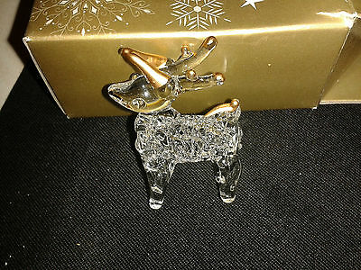 Christmas Tree Decoration  Filigree Glass Clear & Gold Reindeer ~ 99P No Reserve