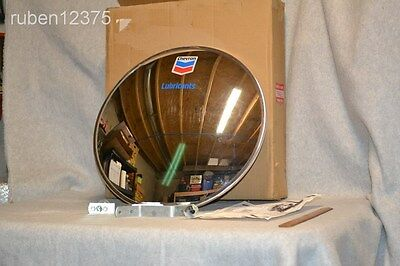 "Large 18"" Chevron Lubricants Convex Detection Mirror Gas Advertising Sign UNUSED"
