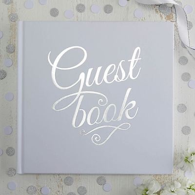 White Guest Book with Silver Foiled detail - Wedding / Party
