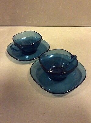 2x French Glass Coffee Cups And Saucers For Two Blue Mid Century Vintage  Vereco