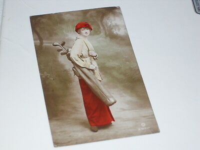 "Rare early Golfing postcard ""Miss Kathleen Vincent"" Hand painted real photograph"