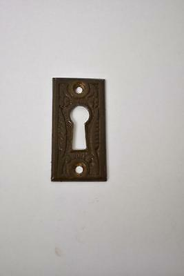 Antique Brass Rectangular Eastlake Key Hole Cover Escutcheon