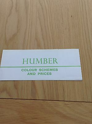 Humber Colour Schemes And Price List Ref 916/H 13/9/1962