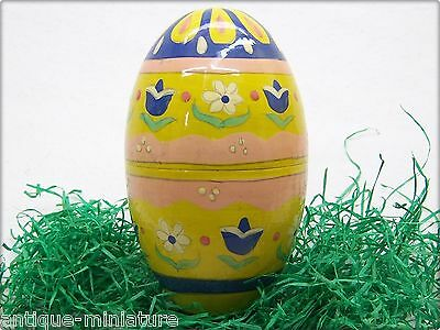 """altes 12,5cm Holz OSTEREI farbig old 4,9""""colored WOOD EASTER EGG CANDY CONTAINER"""