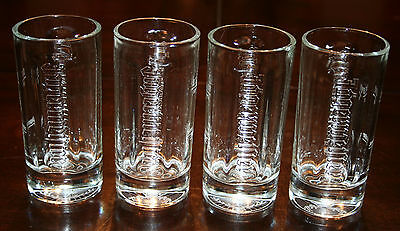 4x JAGERMEISTER Embossed 4 Ounce Shot Glasses