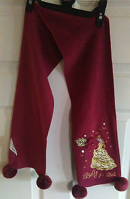 GIRLS SCARF by LADYBIRD DISNEY, MAROON & NAVY, 4 POMPOMS, BELLE OF THE BALL