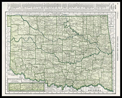 OKLAHOMA U.S. State 1945 antique color lithograph Map