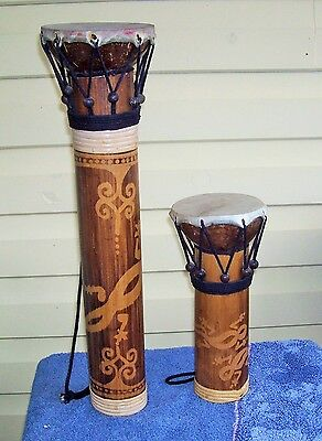 Pair Bamboo Bongo Drums With Native Motifs