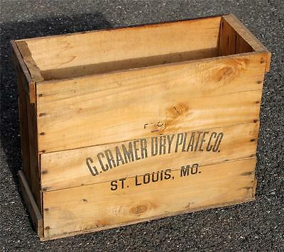Antique G. Cramer Dry Plate Co. Wooden Crate * St Louis * Photography Camera