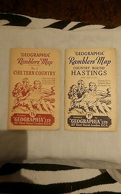 2 x GEOGRAPHICA RAMBLERS MAPS CHILTERN/HASTINGS VINTAGE LOOK