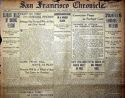 1909 San Francisco Newspaper Page - Louis Bleriot Flys Over English Channel