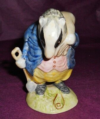 "Beswick Beatrix Potter ""TOMMY BROCK"" CUTE BADGER FIGURINE BP2 GOLD OVAL"