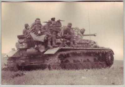 German Wwii Photo From Russian Archive: Soldiers Riding On Panzer Iii Tank