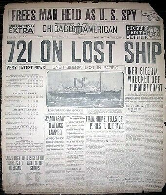 1914 Newspaper Front Page - Pacific Mail Steam Ship Siberia Wrecked Off Formosa