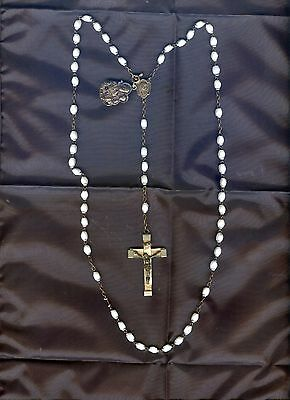 Antique French Rosary carved mother of pearl chapelet silver medal Lourdes