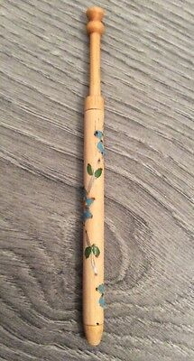 Vintage Light Wood Hand Painted Lace Bobbin Lacemaking