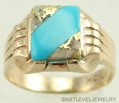 Antique RARE NATURAL Gold in Quartz & Turquoise 10k Solid Gold Men's Pinky Ring