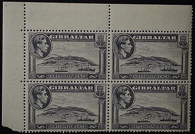1938 Gibraltar 1 1/2d Greyish Violet New Drawings Cnr Block 4 with Selvedge MUH