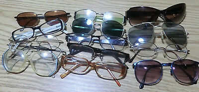 estate lot of vintage assorted RX eyeglasses and sunglasses 14 total