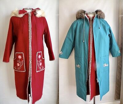 Vtg 70s Northern Canadian Parka Coat Wool and Fox Fur Trim Red Turquoise Jacket